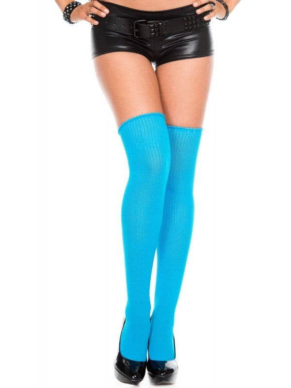 Blue Ribbed Acrylic Women's Knitted Thigh High Socks - Main Image