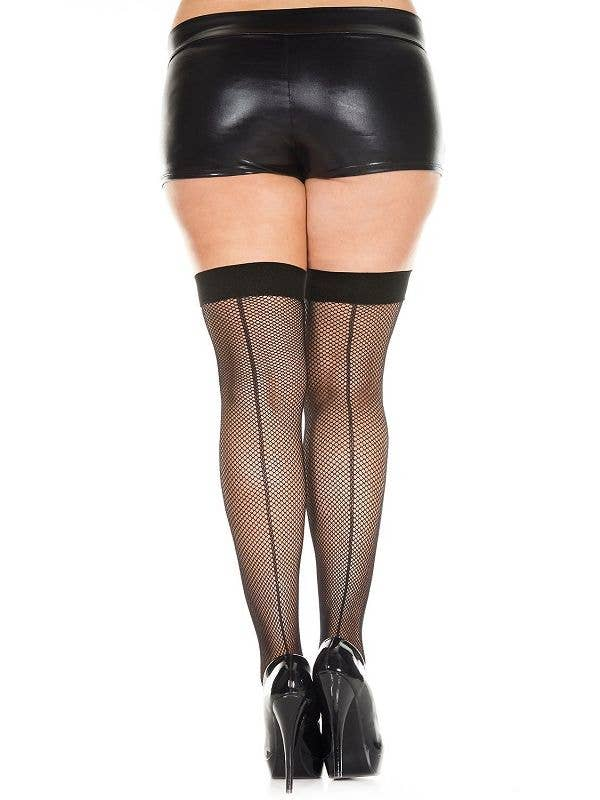 c3d276423a6 Plus Size Women s Black Fishnet Thigh High Stockings with Backseam