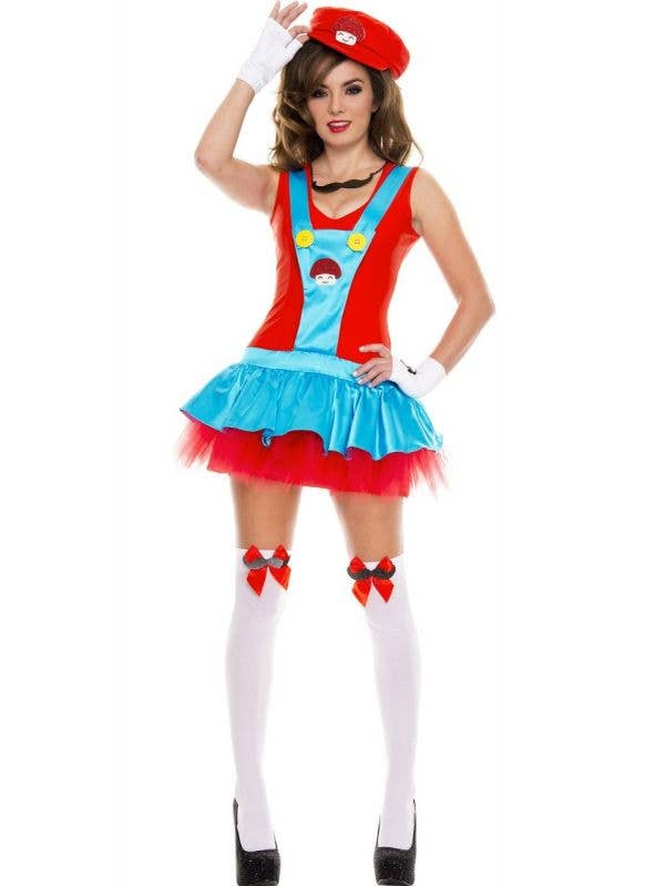 Women's Playful Plumber Sexy Mario Fancy Dress Costume Front Image