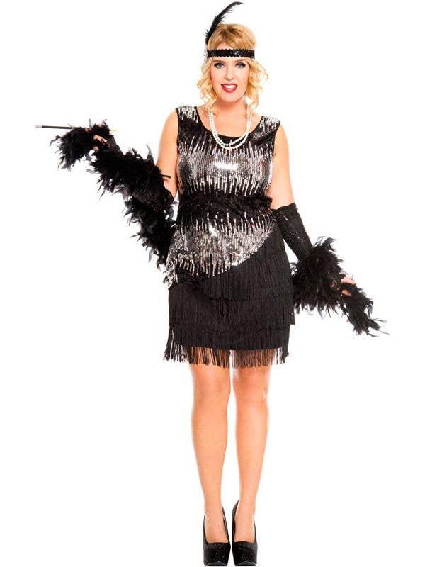 Plus Size Flapper Womens Costume 1920s Fearless Flapper Dress