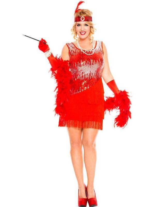 b6369f1fe2d Red and Silver Women s Flapper Showgirl Fancy Dress Front View