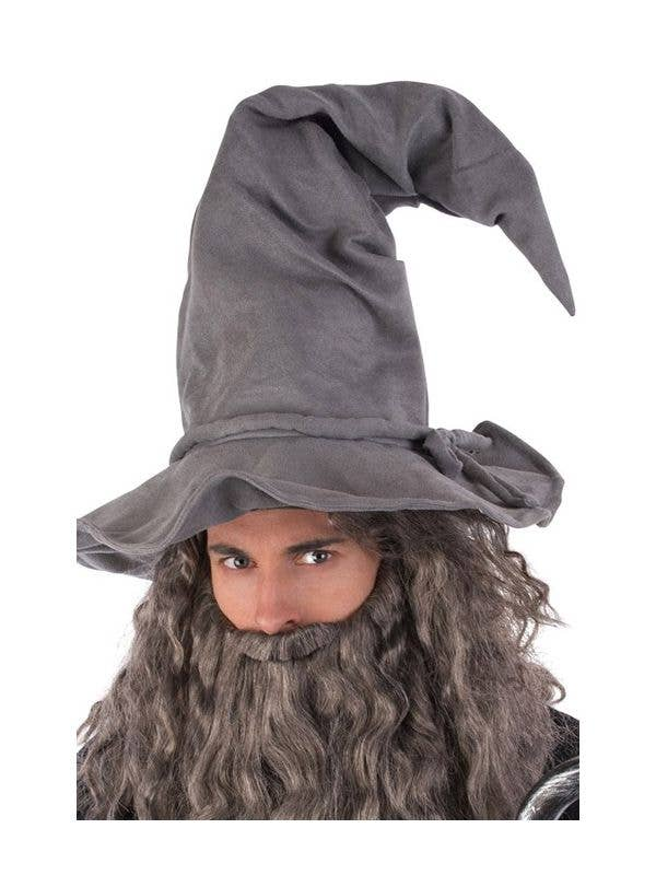 Grey Suede Wizard Hat Costume Accessory