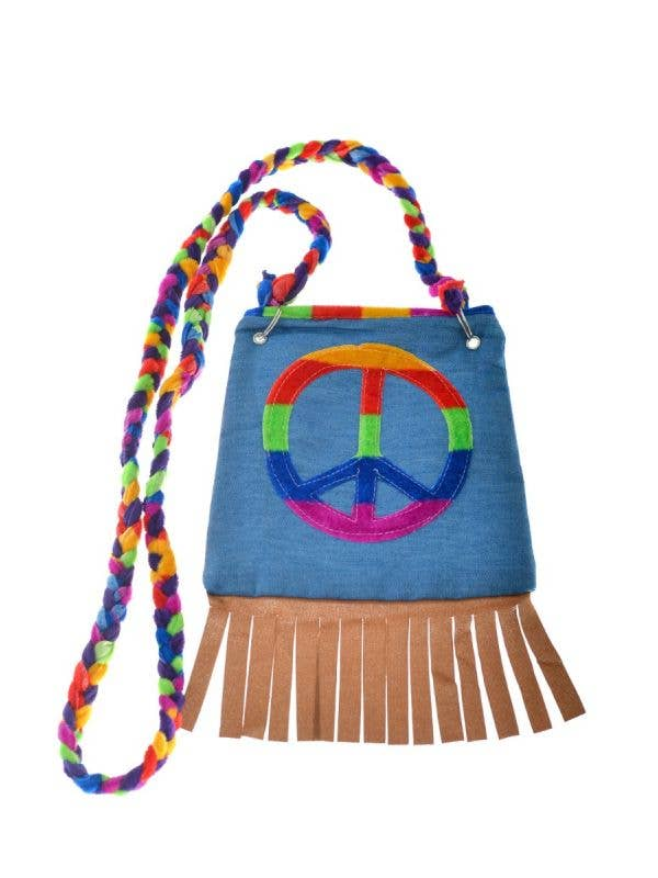 Women's Denim Hippie Peace Sign Bag Costume Accessory - Main Image