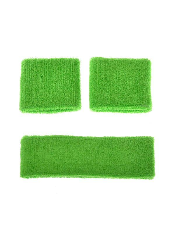 Green Neon Sports Wrist and Head Sweatbands Costume Accessories Main Image