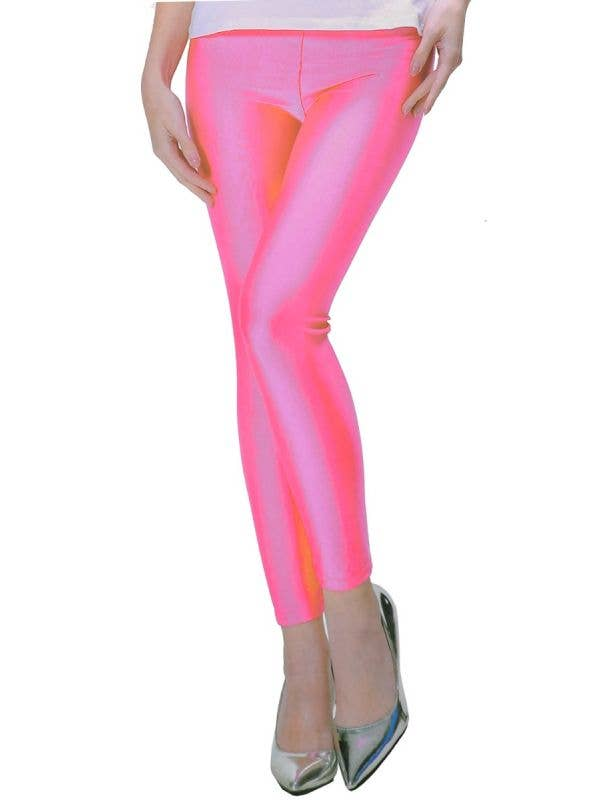 Neon Pink 1980's Party Women's Costume Footless Leggings