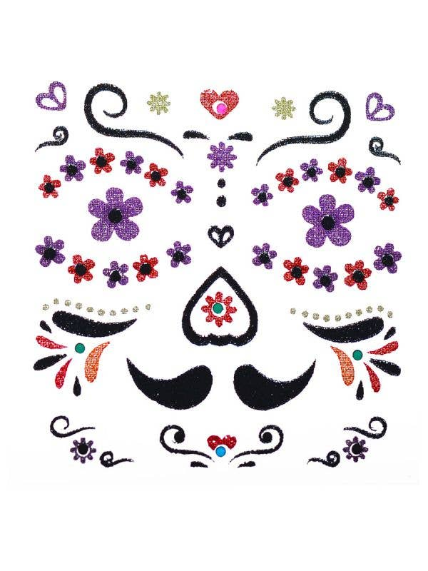 Mariachi Day of the Dead Face Stickers for Men Costume Accessory
