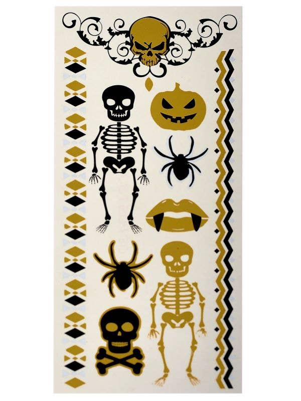 Temporary Black and Gold Halloween Themed Body Tattoos