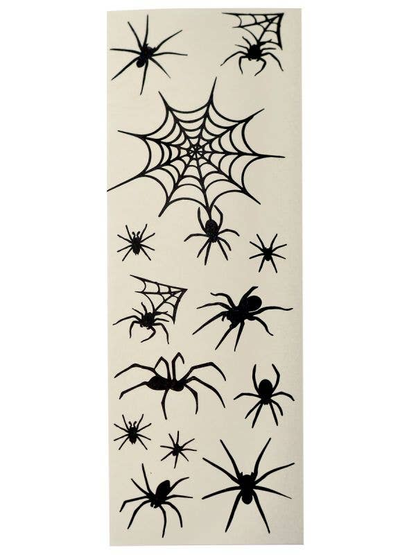Black Spiders and Spiderwebs Temporary Body Tattoos