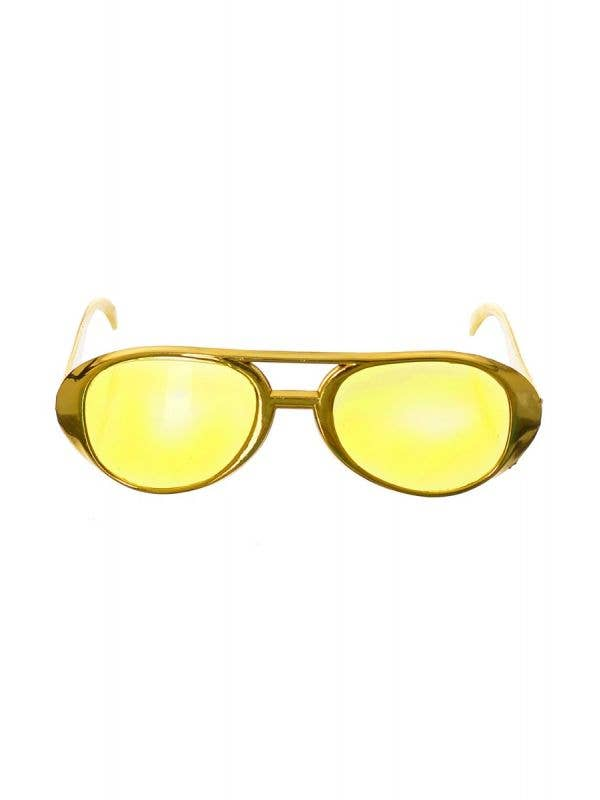 Novelty Gold Aviator Glasses Costume Accessory - main image