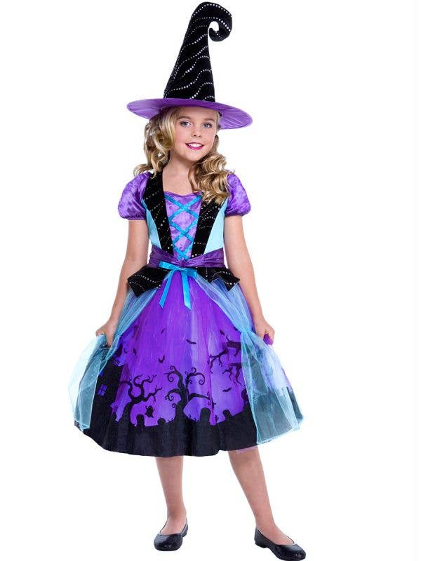 Girls Purple Witch Cauldron Cutie Halloween Costume Main Image