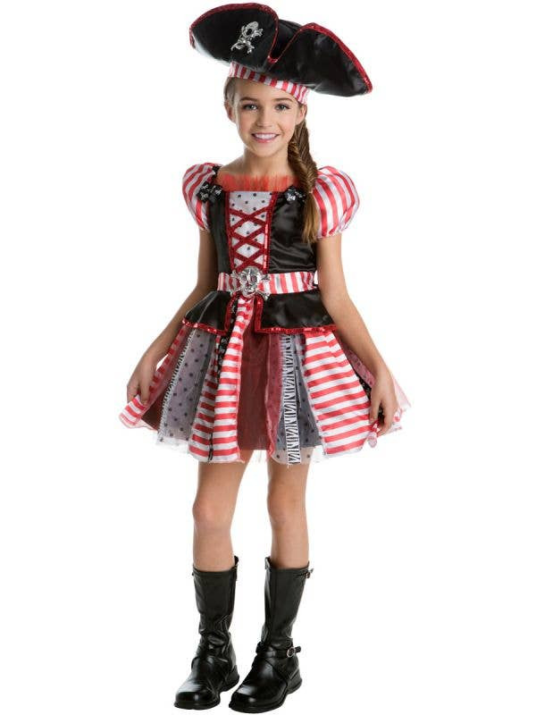 Girls Red and Black Pirate Fancy Dress Costume Main Image