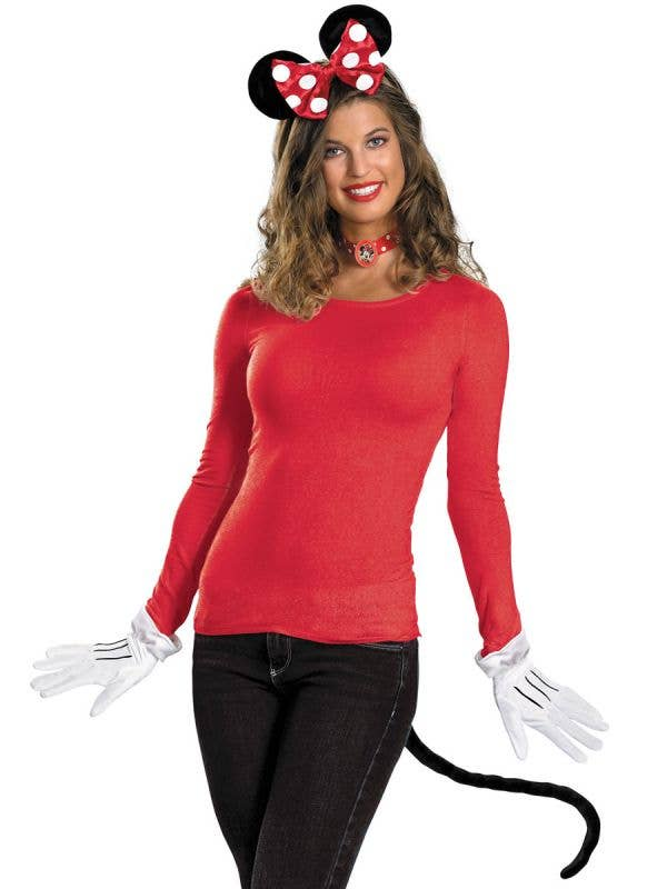 Cute Minnie Mouse Kit with Headband, Gloves, Choker and Tail