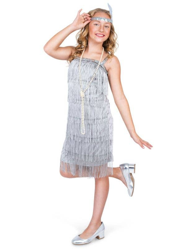 Girls 1920s Silver Flapper Great Gatsby Costume Dress - Main Image