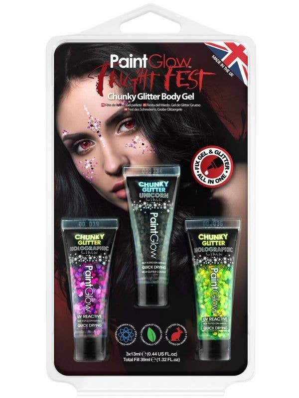 3 Pack of Chunky Glitter Gel Festival or Costume Makeup