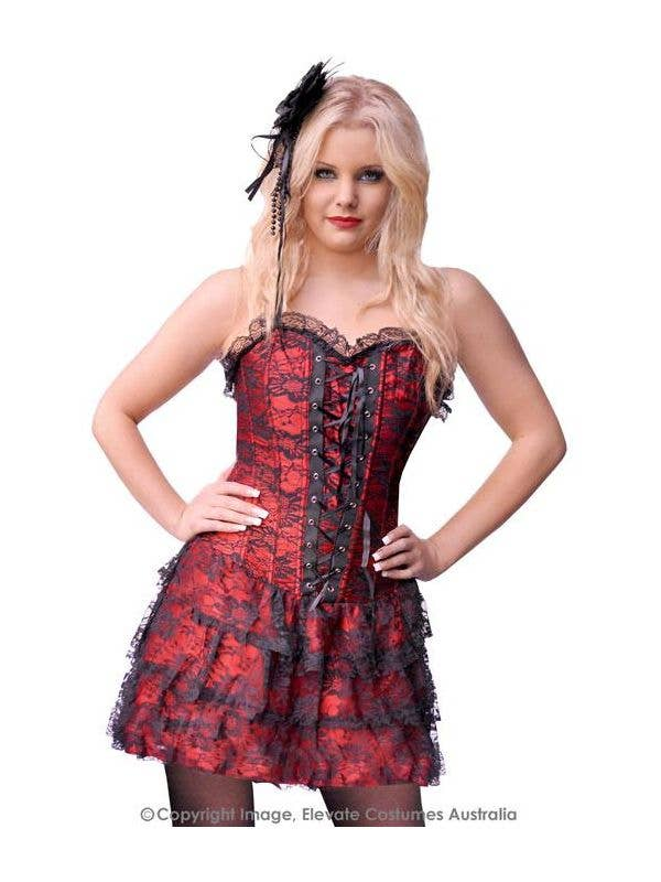 425614278c7 Women s Red and Black Lace Burlesque Corset Main Image