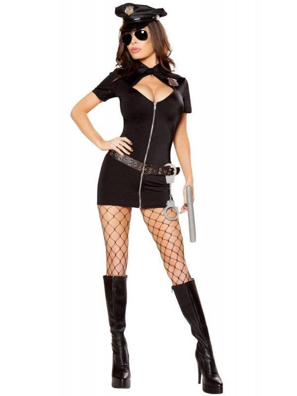 Women's Sexy Police Officer Hottie Fancy Dress Costume Front Image