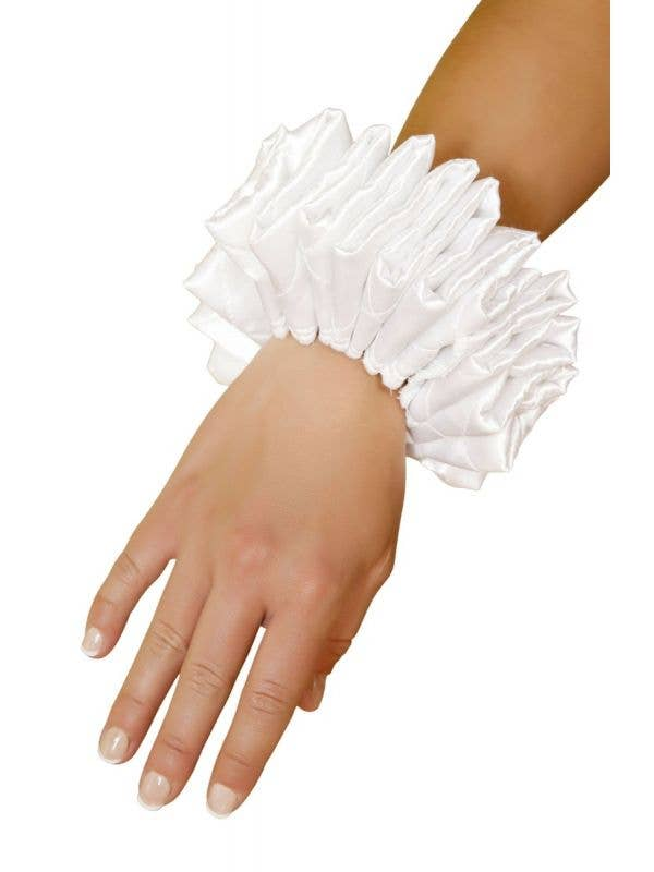 White Satin Quilted Wrist Cuff Harlequin Jester Costume Accessory Main Image