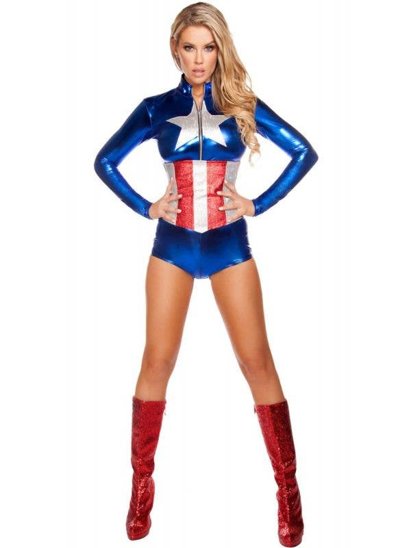All American Temptress Women's Captain America Avengers Jumpsuit Costume Main Image