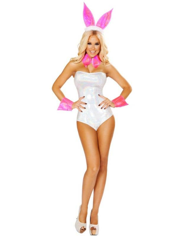 Cute Bunny White and Pink Sexy Women's Costume Main Image