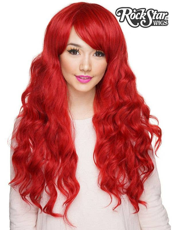 Deluxe Crimson Red 28 Inch Classic Wavy RockStar Wig Front Image