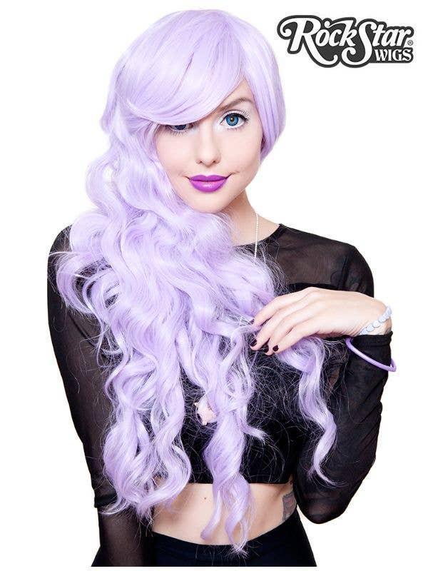 Long Lavender Purple Women's Deluxe Heat Resistant Wavy Wig Front Image