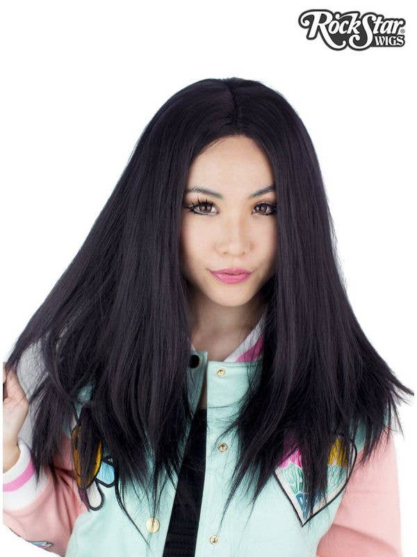 "Women's Long 24"" Heat Resistant Lace Front Deluxe Black Fashion Wig Front Image"