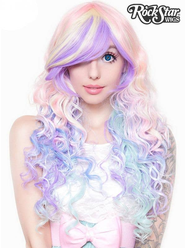 Women's Deluxe Long Curly Pastel Rainbow Heat Resistant Costume Wig with Fringe Main Image