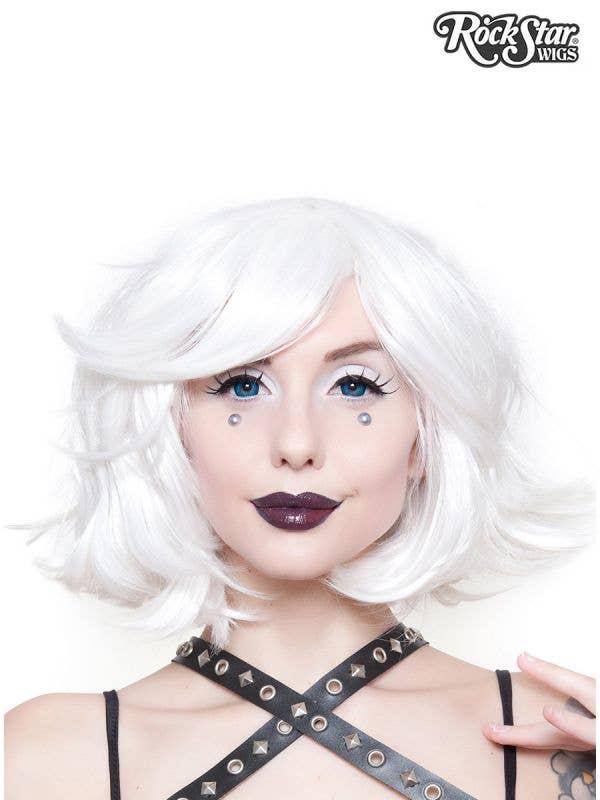 Women's Deluxe Short White Heat Resistant Bob Costume Wig with Side Swept Fringe Main Image