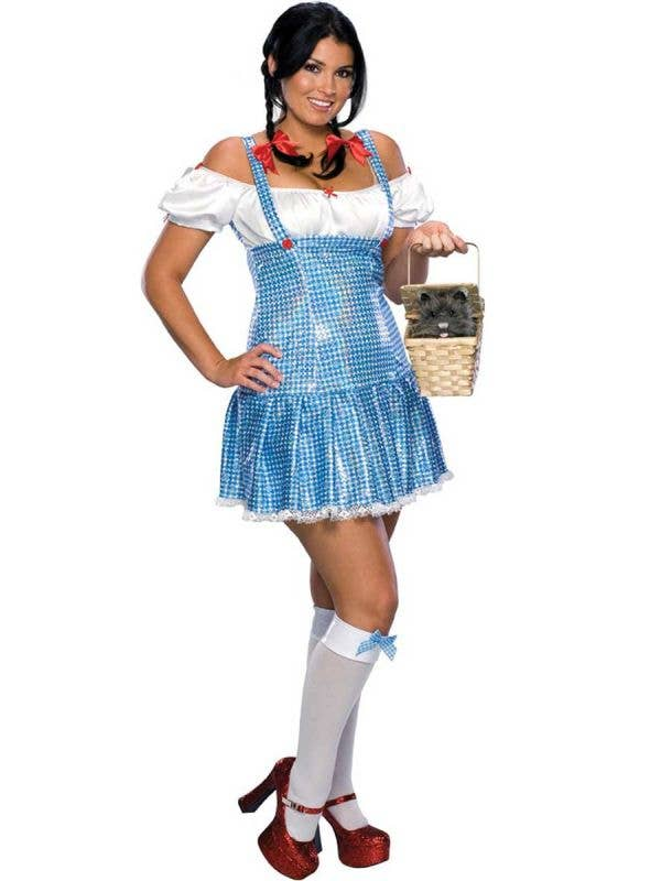 Women's Sequinned Plus Size Dorothy Costume Front View