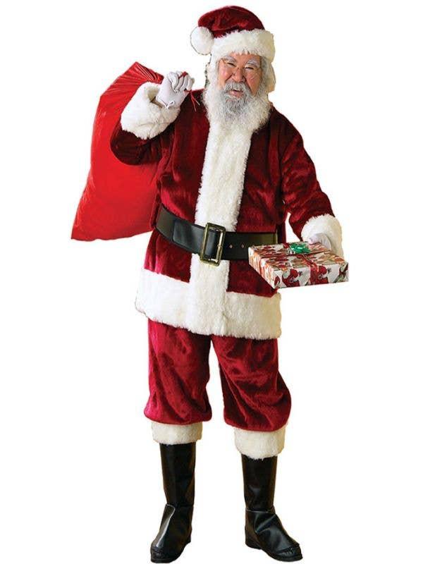 6218bf296cf42 Deluxe Plus Size Plush Crimson Santa Suit Costume