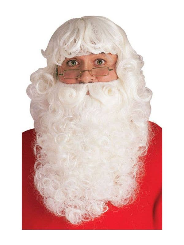 6c54fb7f0abda Deluxe White Father Christmas Costume Beard And Wig Set Main