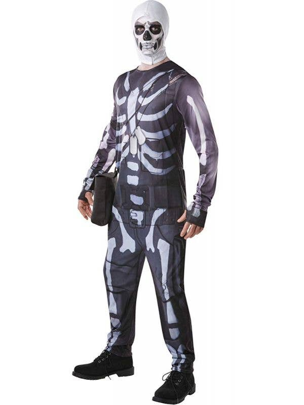 Mens Skull Trooper Fortnite Video Game Fancy Dress Costume Main Image