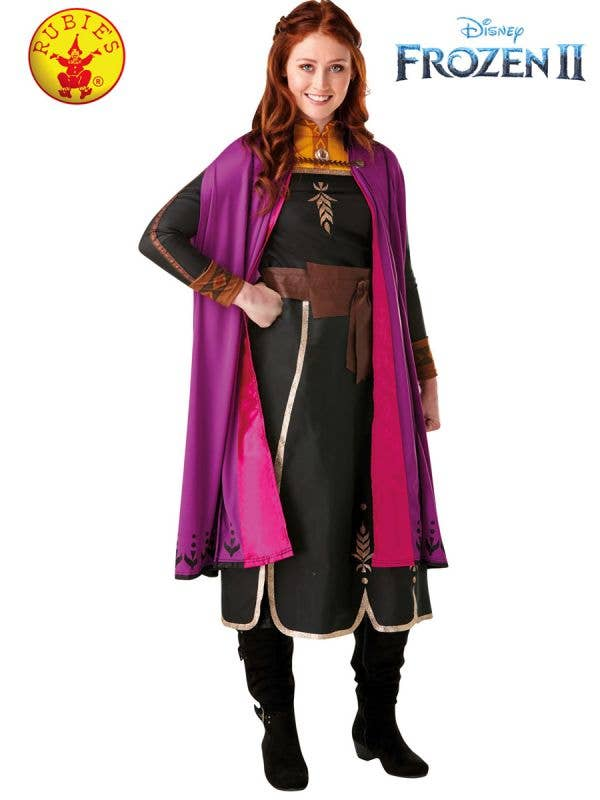Women's Deluxe Travelling Anna Frozen 2 Fancy Dress Costume Front Image