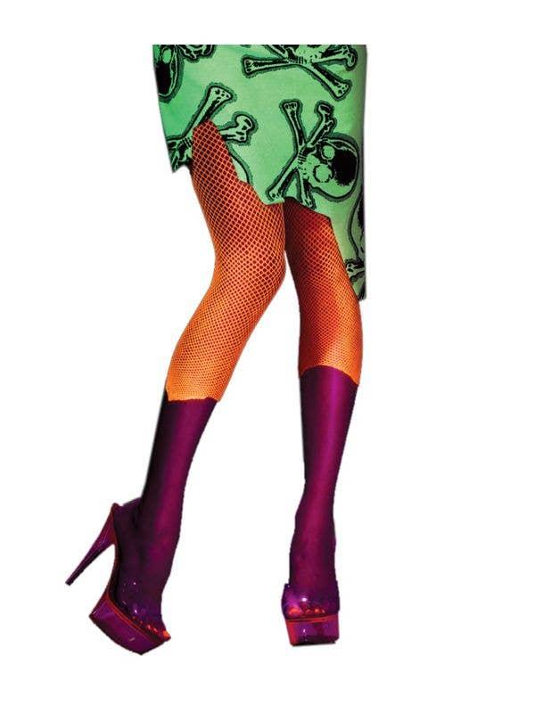 f42badd0c52c7 Toxic Zombie Babe Fishnet Stockings, Neon Orange Fishnet Leggings