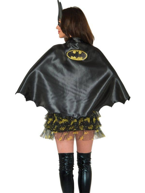 Women's Black Batgirl Cape With Glitter Emblem Superhero Costume Accessory Main Image