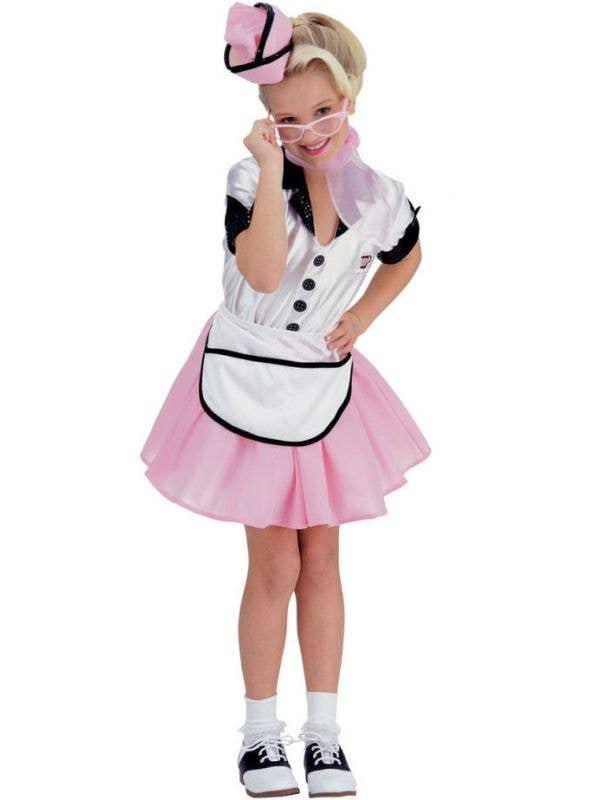 Girls 1950's Soda Pop Waitress Fancy Dress Costume