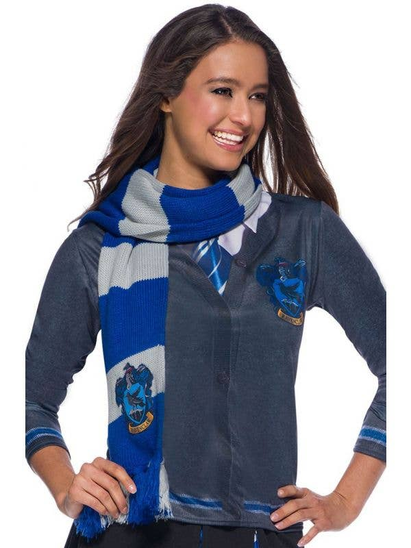 Deluxe Blue and Silver Knitted Ravenclaw Harry Potter Costume Scarf