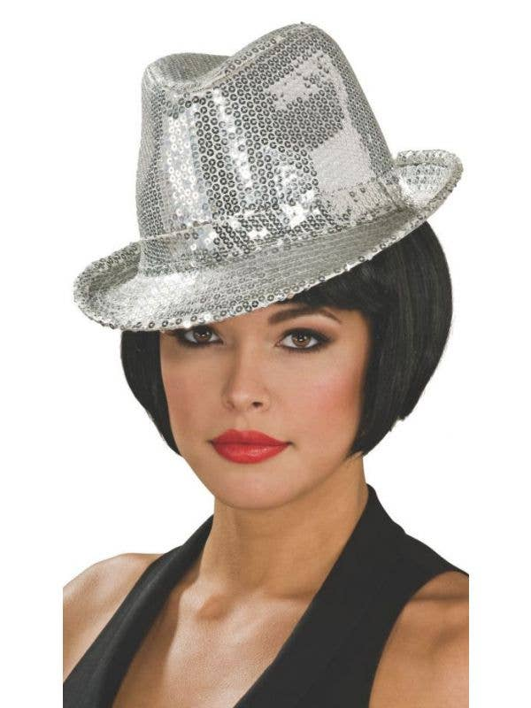Women s Silver Sequined 20 s Fedora Hat Costume Accessory ... b685060bbcd9