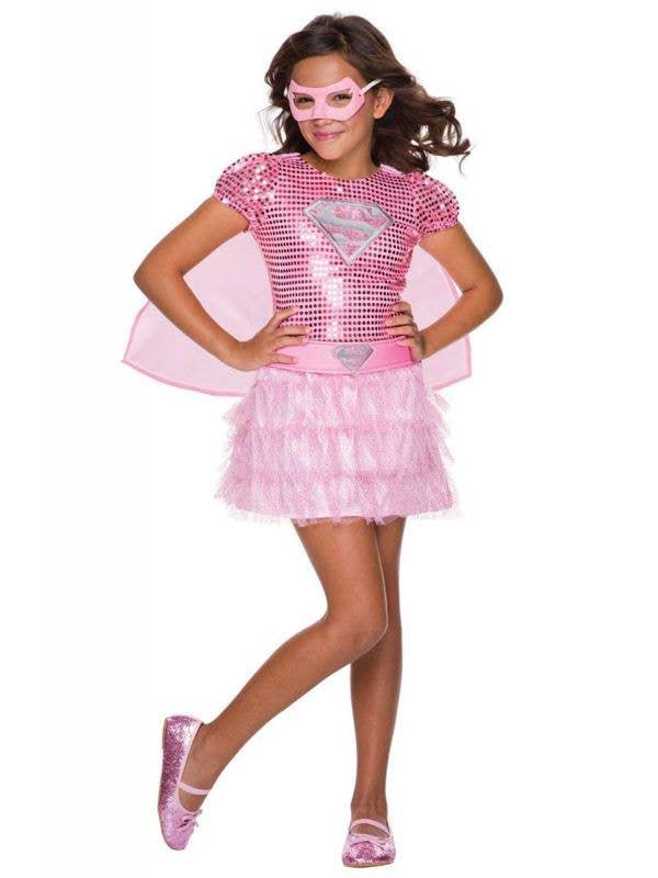 Girl's Supergirl Pink Superhero Book Week Costume Front
