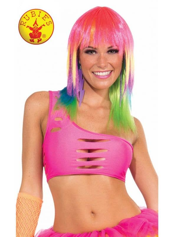 18f11d0a45c7 Neon Pink Rave 80 s Cut Out One Shoulder Costume Top