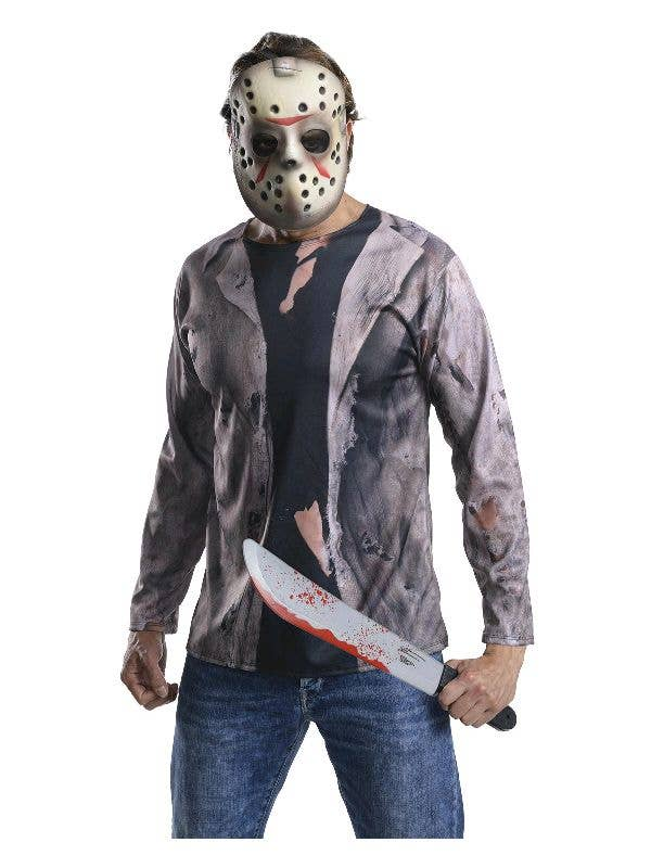 Jason Voorhees Friday the 13th Slasher Movie Mens Halloween Costume with Machete Main Image
