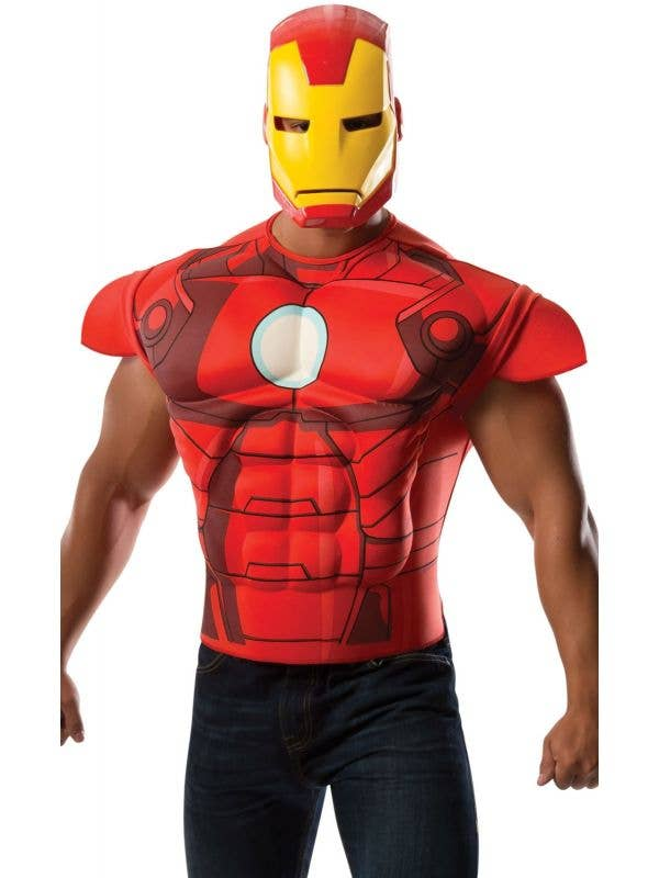 Iron Man Muscle Shirt and Mask Costume Set Main Image