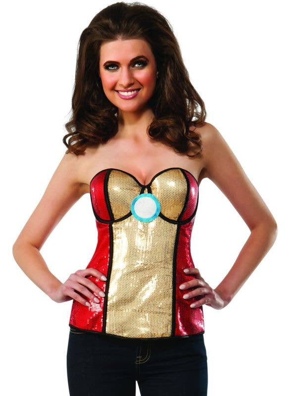sexy womens super hero iron man costume corset red and gold