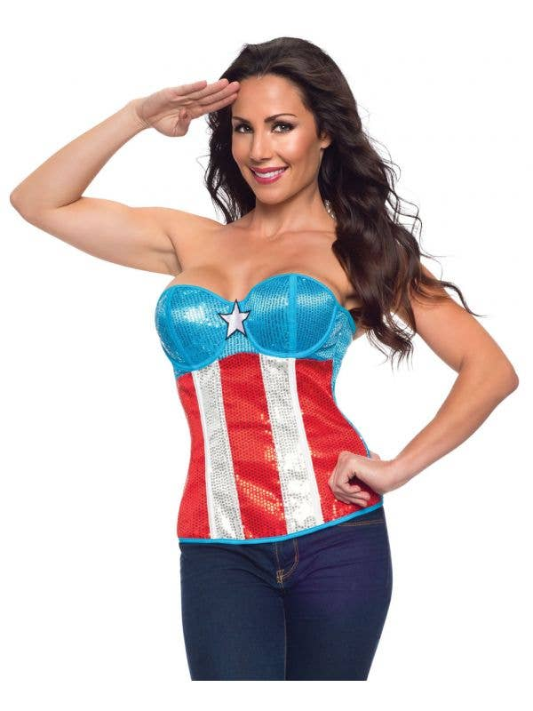 Womens sexy costume corset captain america super hero red and white