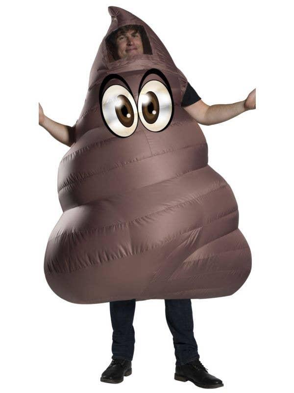 Men's Brown Inflatable Poop Emoji Novelty Hilarious Fancy Dress Costume Main Image
