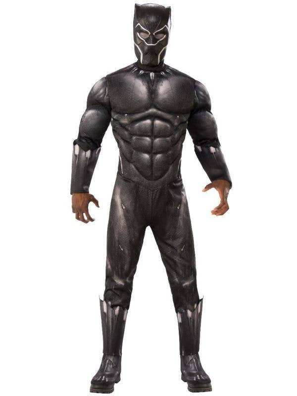 Men's Black Panther Muscle Chest Fancy Dress Costume Front Image