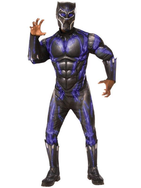 Muscle Chest Black Panther Battle Suit Men's Costume Front Image