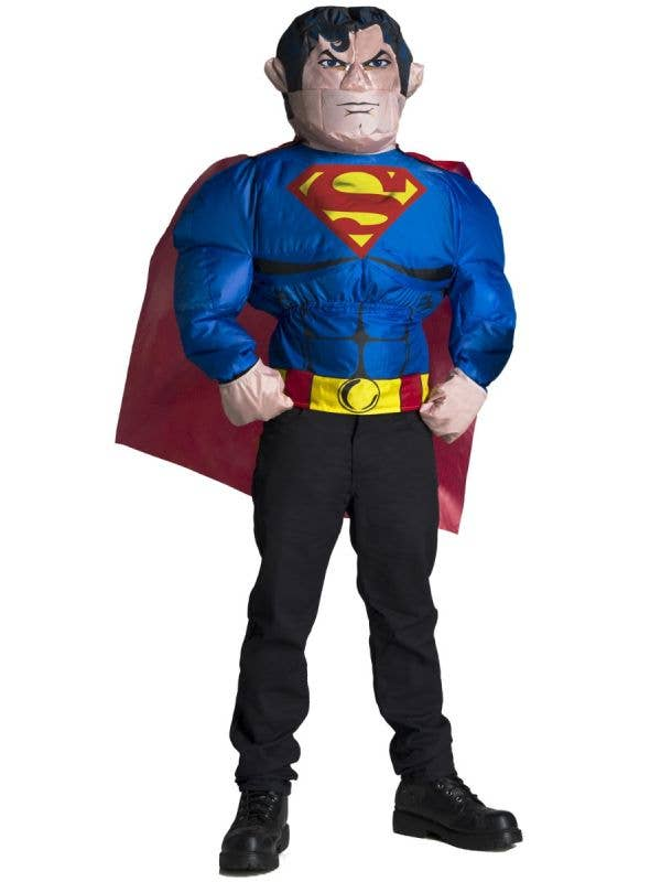 Adult's Novelty Inflatable Superman Shirt And Head Costume Main Image