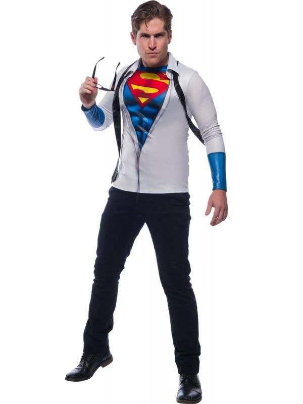 Photoreal Clark Kent Superman Men's Fancy Dress Costume Shirt