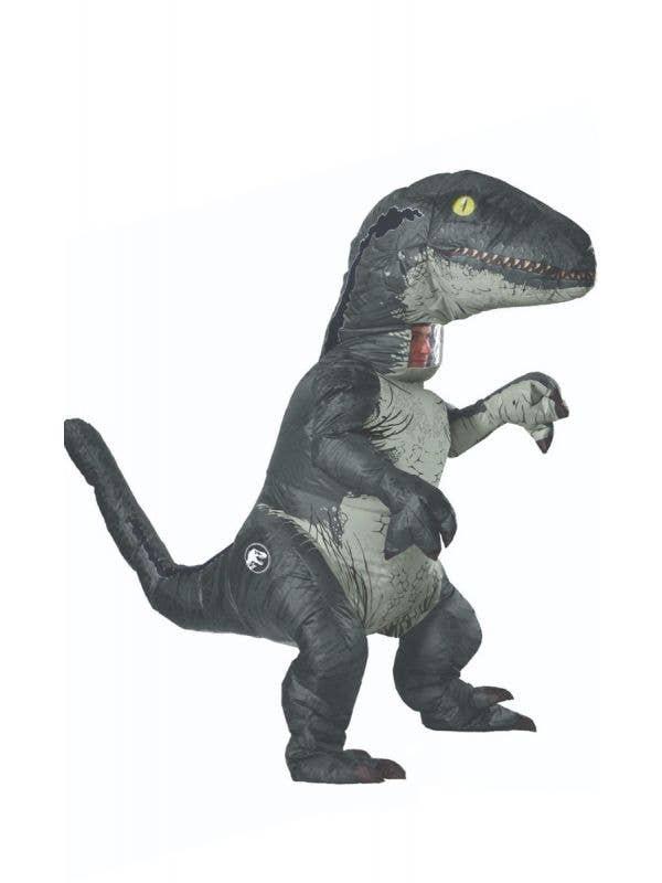Blue Jurassic Park Velociraptor Dinosaur Adults Costume with Sound Main Image